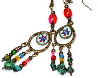 Colorful Flower Turquoise Earrings Bohemian Hippie Boho Jewelry FREE SHIPPING