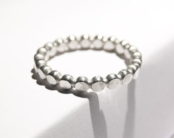Sterling silver bubble ring, sterling silver, oxidized ring, 3mm hammered friendship ring, beaded ring, handmade ring, bubble wire ring