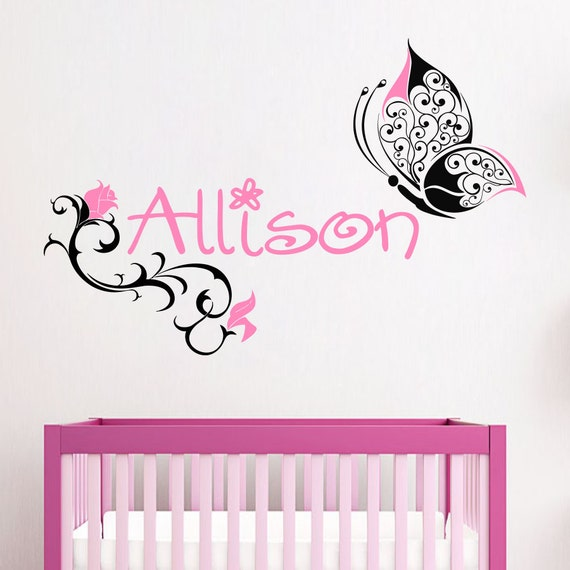 Name Wall Decals Butterfly Decal Nursery Baby Girl by ...