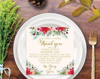 Wedding Thank You Place Card - Natural Evergreen - Wedding Reception - Place Setting Card - Thank You - Instant Download - DIY