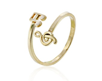 Gold Musical Notes Ring, 10k Solid gold