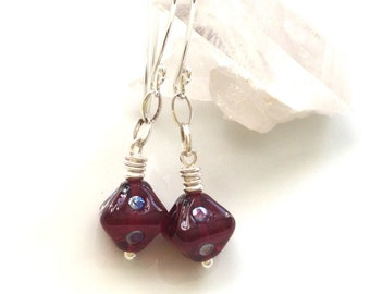 Cranberry Red Glass Earrings / Lampwork Glass Earrings / Glass Dangle Earrings / Sterling Silver Earrings