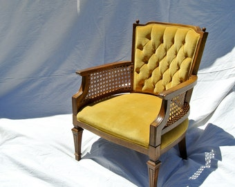 Vintage Cane Side Accent Chair with Tufted Goldenrod Yellow Velvet Fabric