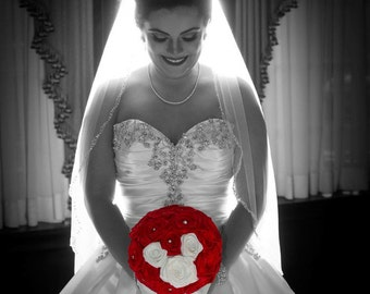 Hidden Mickey Bouquet, Disney Wedding Bouquet, Red Wedding Bouquet, Mickey Mouse Wedding, Mickey Wedding, Red & White Bouquet, Red and Black