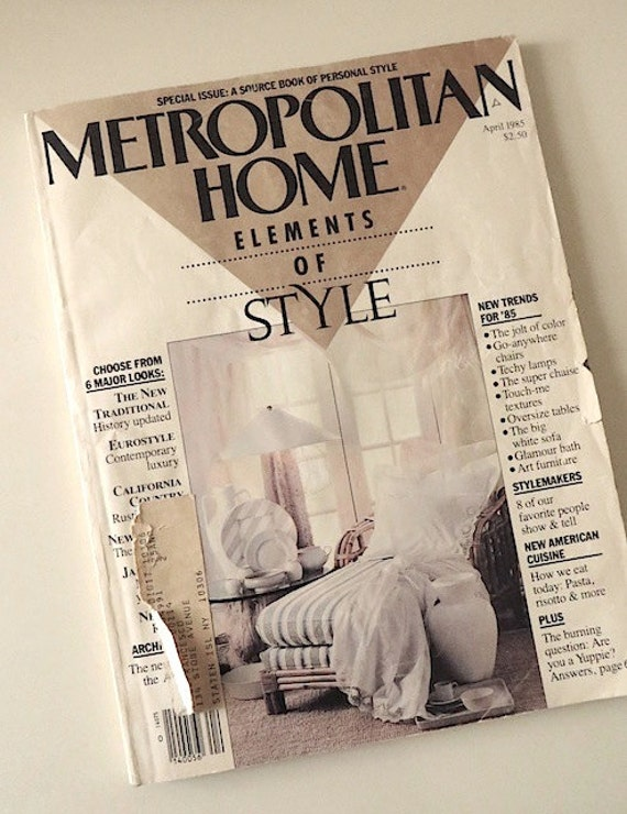 80s Vintage Magazine Metropolitan Home Magazine 1985 Home
