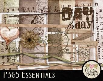 Cottage Chic Digital Scrapbook Kit Clip Art - Shabby Altered P365 Essentials, Project 365 Digital Scrapbooking Kit