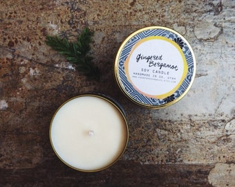 Gingered Bergamot Soy Candle   8 oz Candle in Gold Tin   citrus scented, gifts for her, citrus candle, orange ginger