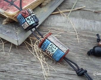 Opening Pendant One of a Kind Box Necklace Polymer Clay rustic necklace Gypsy necklace Boho pendant unique gift for girlfriend original gift