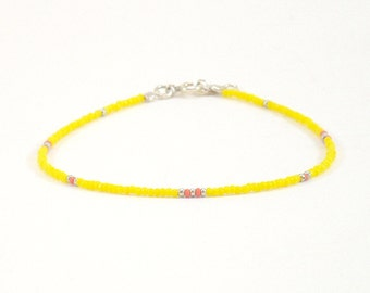 Bracelet «Grigri Delicacy», yellow, pink, silver