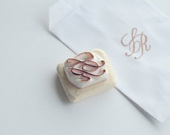 Custom wedding monogram stamp - hand carved initials for diy wedding invitation - baby shower