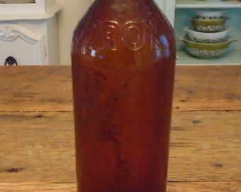 SALE-Vintage Brown Glass Clorox Bottle-32oz