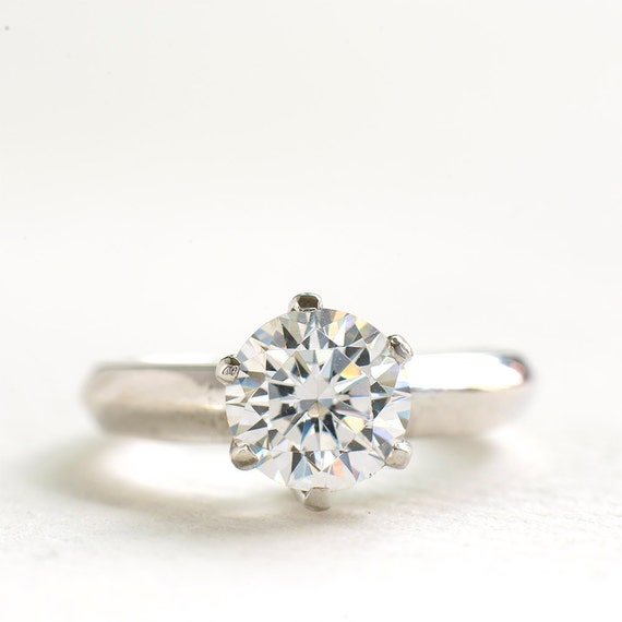 cubic zirconia engagement ring 1 5 carat sterling silver