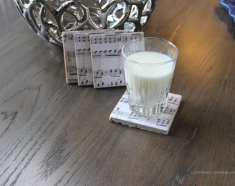 Music Coasters - Marching Band Gifts - Music Note Coasters - Music Decor - Music Gifts - Sheet Music - Music Teacher Gift - Musician Gifts