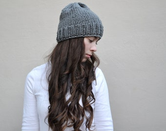 gray hand knitted slouchy hat || the ashland || one of a kind