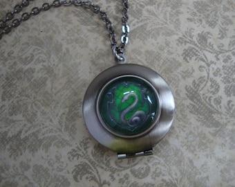 Slytherin Locket Necklace, Slytherin House Crest Locket Necklace, Harry Potter Locket Necklace, Hogwarts School of Witchcraft Locket Jewelry