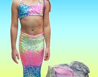 Swimmable/Walkable Mermaid Tails with Invisible Zipper Bottom! Add Monofin /Add Bikini!!