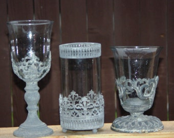 Metal Filigree Candle Holders,Potpourri, 3 Choices, made in Italy 1970s - Weddings, Special Events, Home Decor