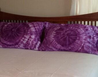 Tie Dyed cotton pillocase, set of two pillow cases, 500 thread count, Egyptian Cotton pillowcase, purple swirl pillowcase