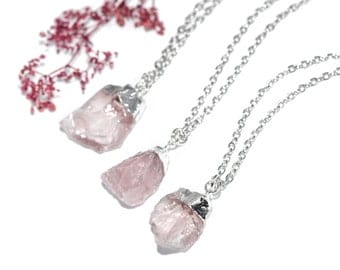 Rose Quartz Healing Crystal Cluster Necklace- Boho Vintage Silver Dipped Raw Pink Nugget Jewelry Jewellery - Semi Precious Stone-Bohemian