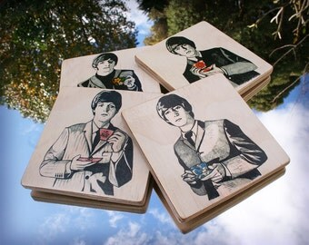 The Beatles Tea Party handmade little wooden pictures / coasters, set of 4