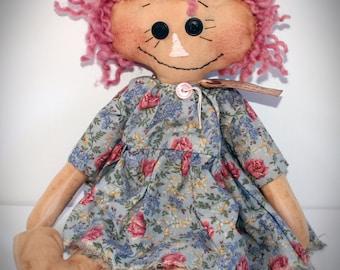 Primitive Raggedy Ann, Handmade Doll, Annie, Floral Print