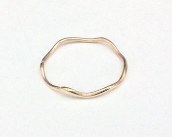 Solid Gold Wave Ring - 14K Gold Stacking Ring - Minimalist Jewelry - Marked 14K
