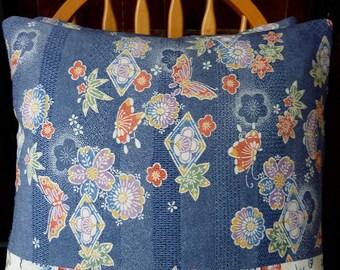Blue & White Red Mauve Butterflies Ume Plum Blossom Floral Vintage Japanese Kimono Silk Fabric Pillow Cushion Cover