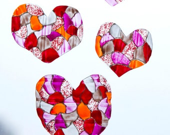 Hearts decor. Suncatcher Valentine's day, Set of 4 Wedding Red ornaments. Stained-glass view wall, window, mirror, curtains. Custom color