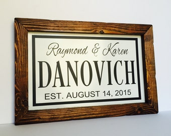 Wedding Gifts Personalized, Unique Wedding Gift For Couple, Marriage Signs, Wedding Date Wood Sign, Custom Anniversary Gift, Last Name Sign