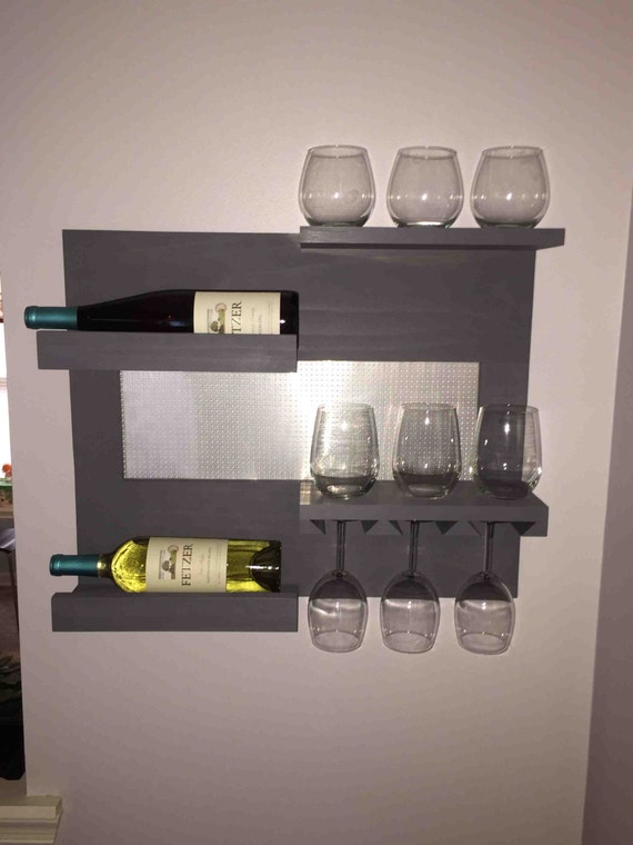 wall mounted wine and liquor rack with shelves 2 tier wine. Black Bedroom Furniture Sets. Home Design Ideas