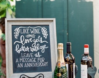 Wine Guest Book Chalkboard Sign