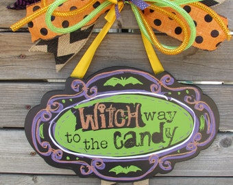Witch Way to The Candy Door Decor Halloween Door Decor Witch Door Decor Purple Green Door Decor Witch Door Sign Witch Legs Halloween Decor
