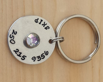 Pet ID Tag with a Jewel - Dog Tag - Cat Tag - Bridle Tag - Hand Stamped Aluminum Tag