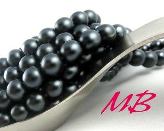 SALE - 50 pcs Preciosa Glass Pearl Beads, 10mm Black Round Pearls, Dark Pearls