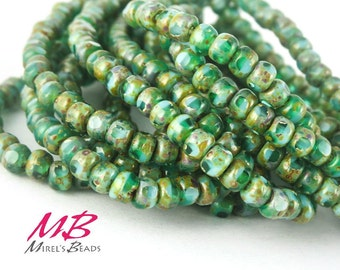 4x3mm 50 pcs Turquoise and Green Picasso Czech Beads, Tiny Bead Mix