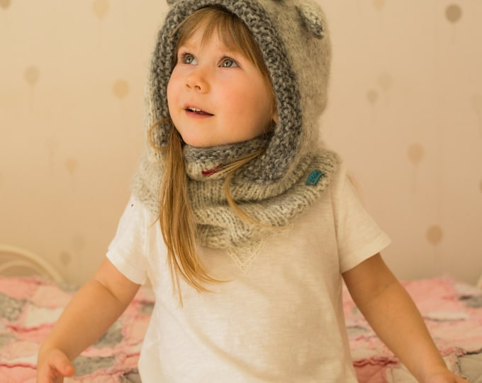 KNITTING PATTERN hooded cowl reindeer Rudolph with antlers (baby, toddler, child, adult sizes)