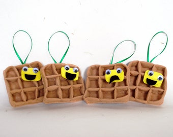 Waffle Ornament - Personalized Christmas Ornament - Funny Holiday Ornament - Felt Food Ornament - Funny Gift for Friend and Family