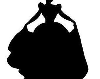cinderella silhouette vinyl decal sticker car window laptop wall choose size and color