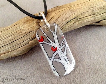 Hand-drawn pendant : white birch trees and cardinals on clear background with sterling silver