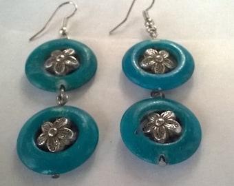 bone earrings blue