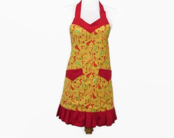 Womens Plus Size Chili Peppers Apron, Plus Ruffled Apron, Chili Peppers Plus Apron, Plus Chili Apron, Large Chili Peppers Apron