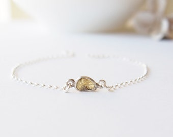 Rough Diamond Bracelet Rough Diamond Silver Bracelet Raw Diamond Bracelet Gemstone Bracelet  April Birthstone