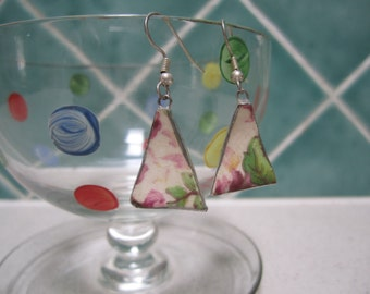 Vintage Broken China Earrings - Pink and Green