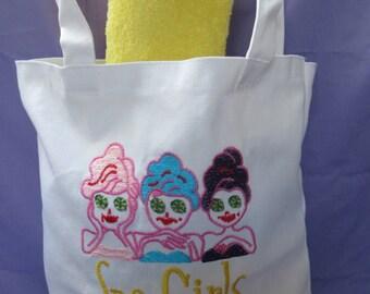 Spa Tote Bag, Spa Gift,  Spa Party, Spa Theme Party Bag, Unique party favor, Spa Girl Theme, Spa party favor,