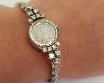 Solid 14K White Gold Diamond Croton Ladies Wind Up Wrist Watch ~ Perfect Time Running ~ Bridal Jewelry Anniversary Prom ~ 1920s high fashion