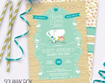 Garden Tea Party Baby Shower Invitation – Baby Boy – Printable Invitation by Squawk Box Studio