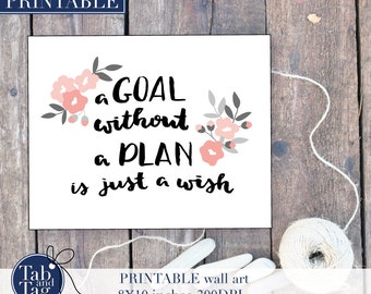Printable Planning Wall Art. Planning Quote. A Goal Without A Plan Is Just A