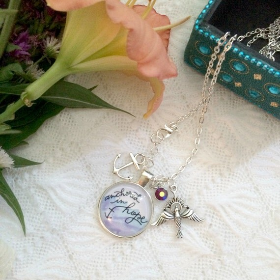 "24"" Charm Necklace * Hand-lettered & Illustrated Anchored in Hope Pendant * Catholic Christian Jewelry"