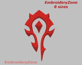 Logo WarCraft machine Embroidery design filled. 8 sizes. Hoop 4x4 5x7 6x10 7x11. Logo computer game WarCraft.