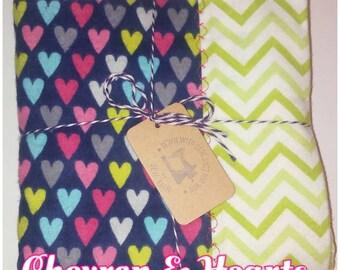 Chevron & Hearts Flannel Self Binding Receiving Blanket